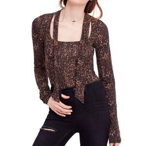 Free People NWT leopard print self tie top copper